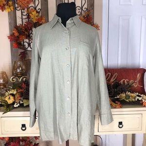 Units| women's 100%linen green collar shirt